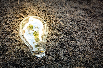 lâmpada acesa em cima da terra