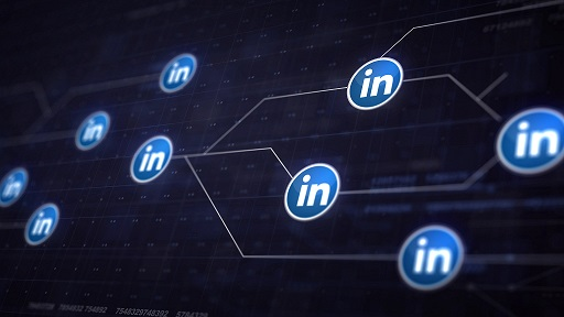 Rede de conexão com o logo do LinKedin
