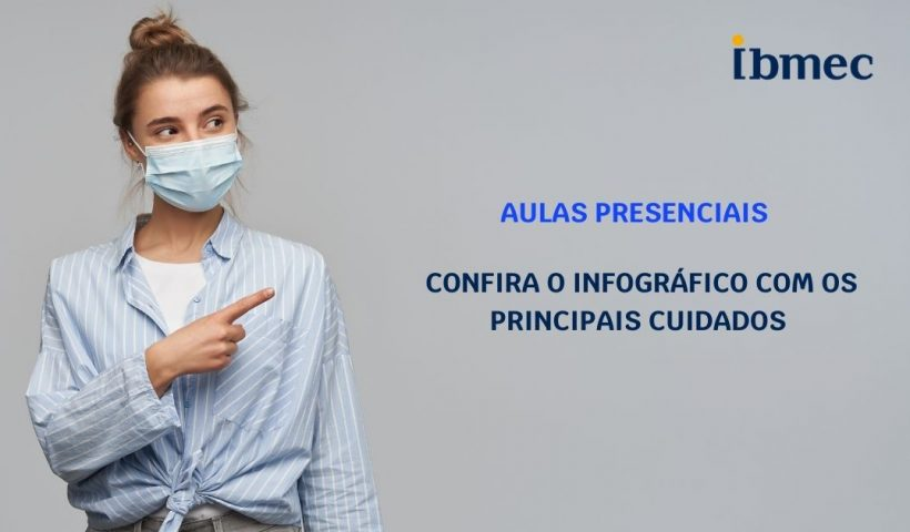 Menina de máscara apontando o dedo para mostrar o texto que diz para conferir o infográfico com os principais cuidados contra a Covida-19