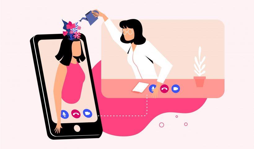 Médica regando flores na cabeça da menina que está dentro de um celular. É uma ilustração apenas para falar sobre a importância da saúde mental nos dias de hoje com as redes sociais.